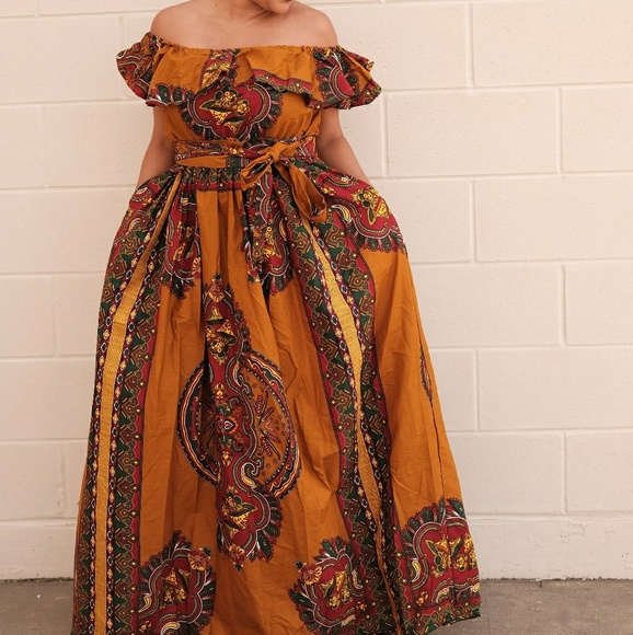 69bbc0245f64 Women African Ankara off shoulder dress